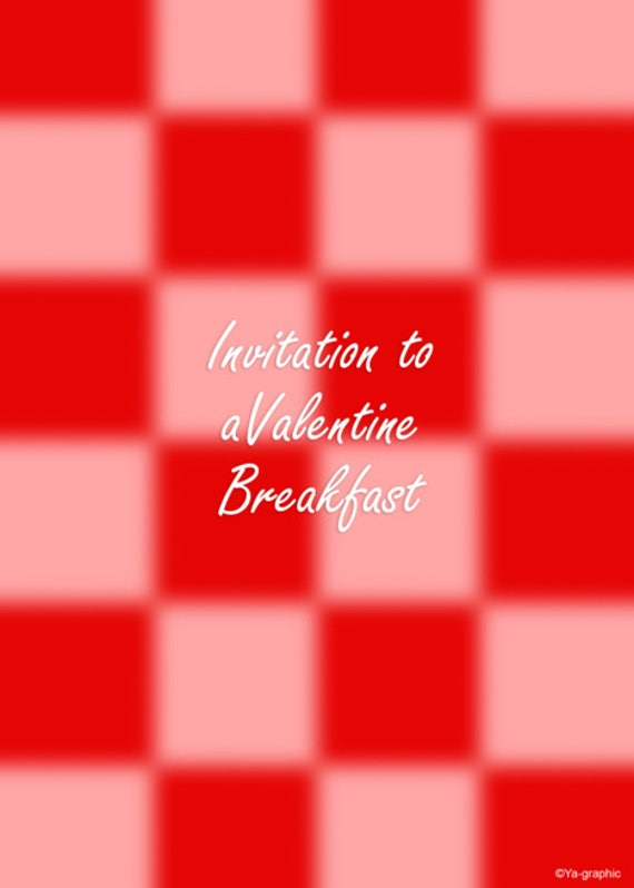 breakfast valentines party invitation