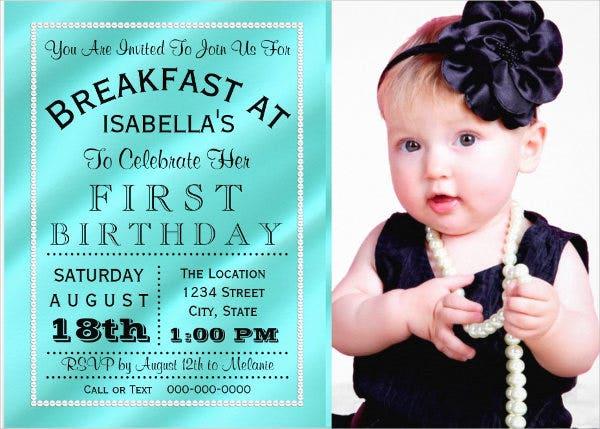breakfast birthday party invitation