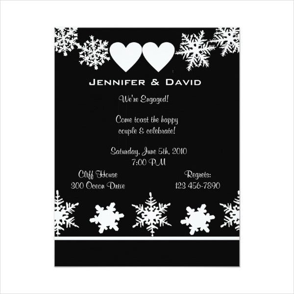 Snowflake Surprise Engagement Party Invitation