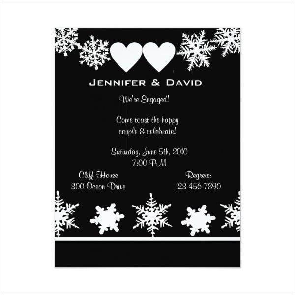 snowflake surprise engagement party invitation