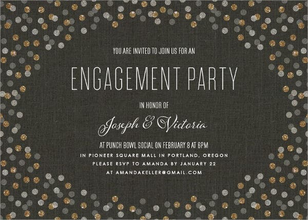 Confetti Surprise Engagement Party Invitation