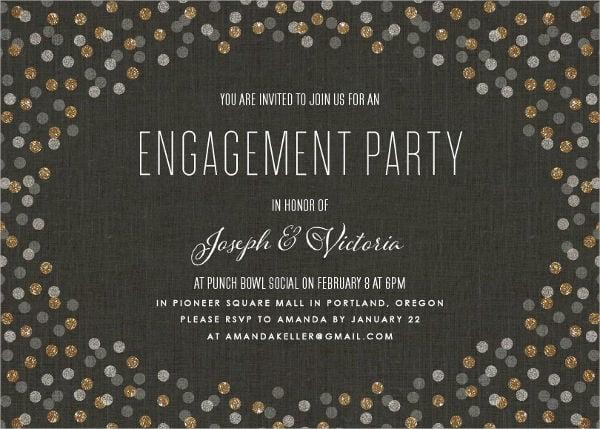 confetti surprise engagement party invitation