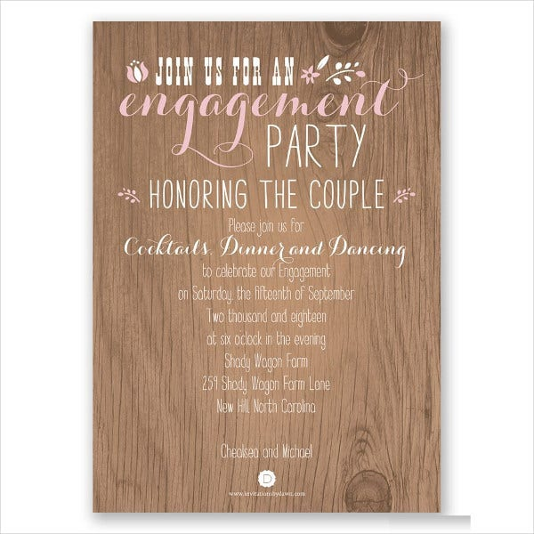 Rustic Surprise Engagement Party Invitation