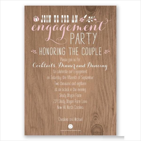 rustic surprise engagement party invitation