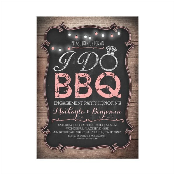 Surprise Engagement BBQ Party Invitation