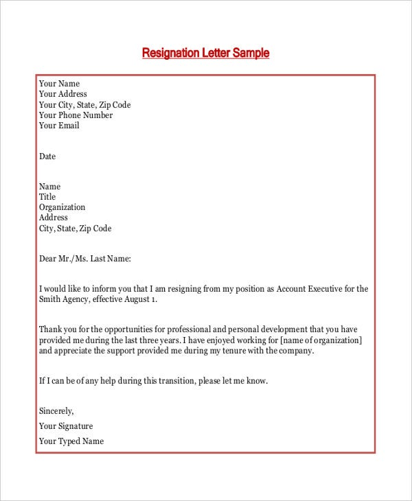 simple basic resignation letter template