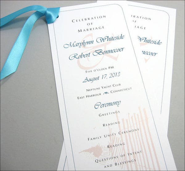 Beach Wedding Ceremony Program Template
