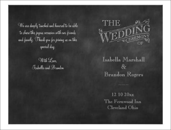chalkboard wedding ceremony program template