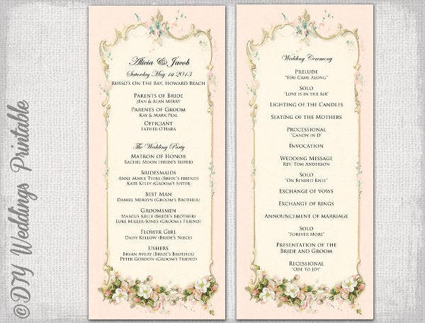 Vintage Wedding Ceremony Program Template