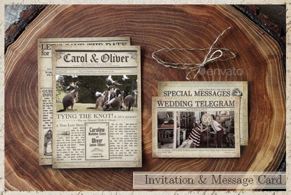 Vintage Newspaper Wedding Program Template