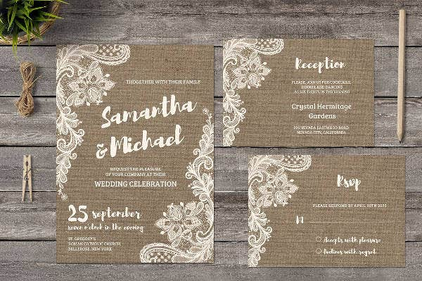 Vintage Lace Wedding Program Template