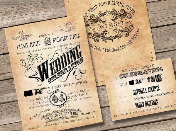 Vintage Wedding Program Wording Template