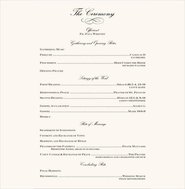 7+ Wedding Reception Program Templates - PSD, Vector EPS, AI ...