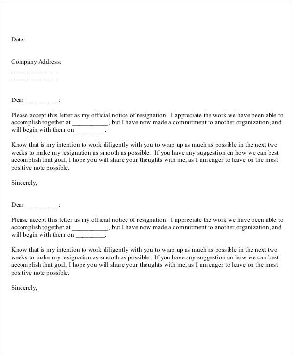 basic formal resignation letter template