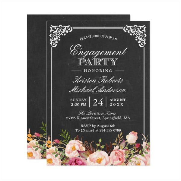 Surprise Chalkboard Engagement Party Invitation