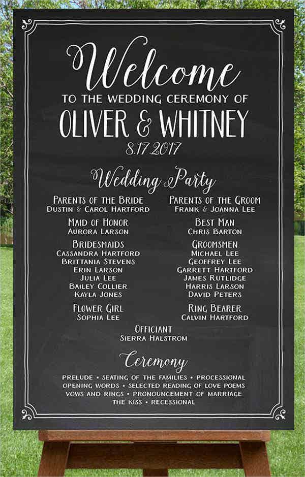 8 chalkboard wedding program templates psd vector eps ai