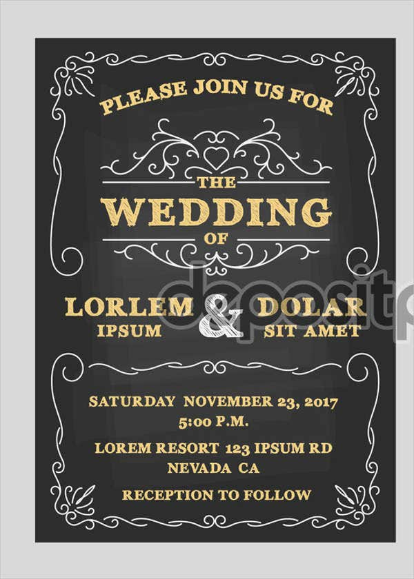 vintage chalkboard wedding program template