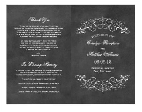 chalkboard wedding program and thank you template