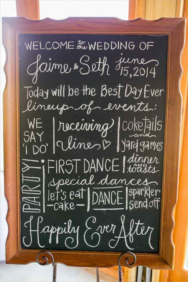 handwritten chalkboard wedding program template