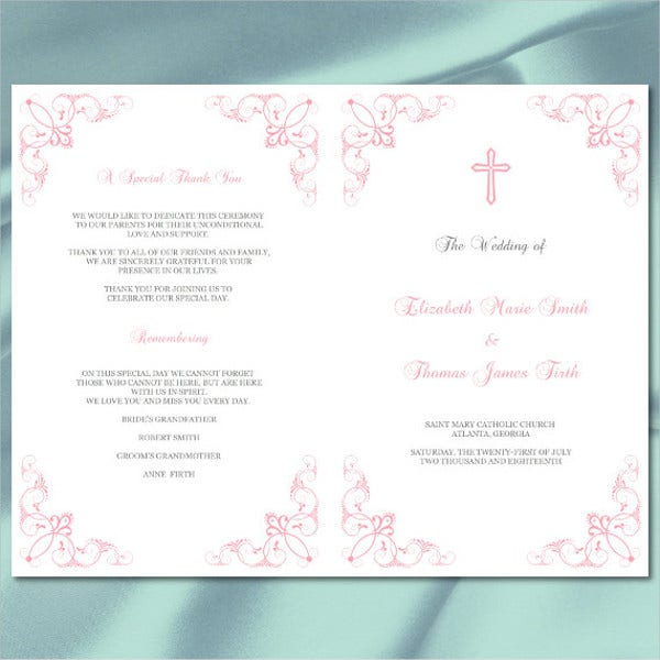 catholic wedding reception program template1