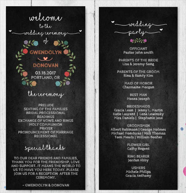 rustic chalkboard wedding program template