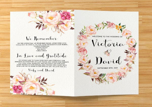 Printable Wedding Event Program Template