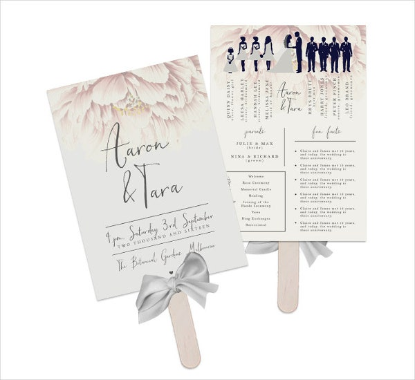 wedding paddle fan program template