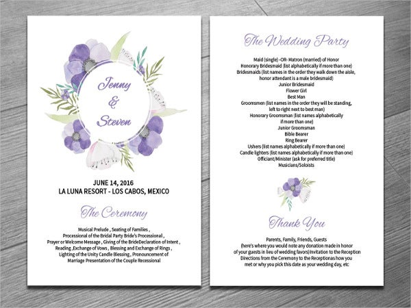 printable wedding fan program template