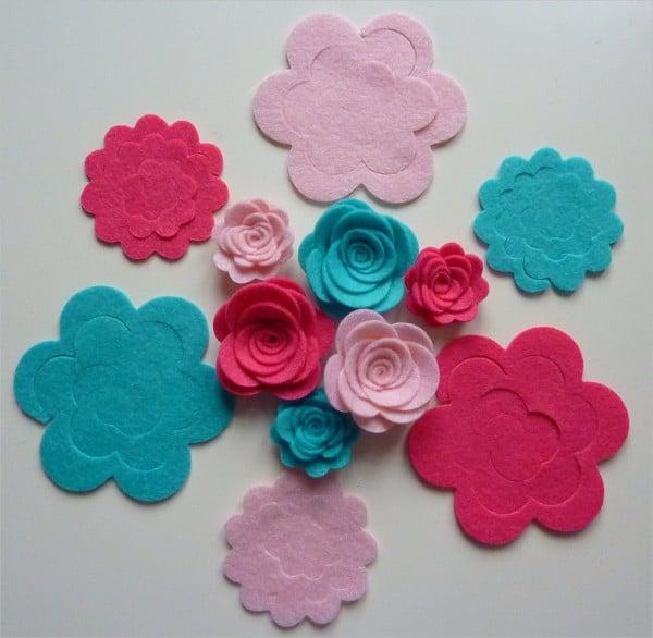 3D Felt Flower Template