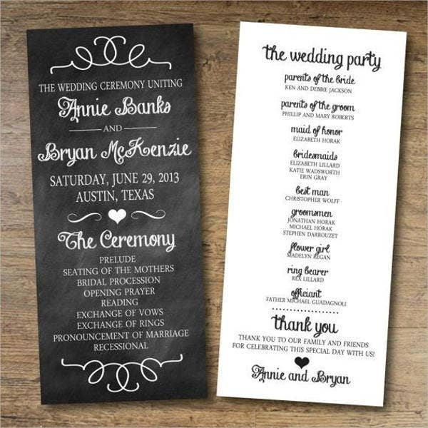 Chalkboard Wedding Program Wording Template