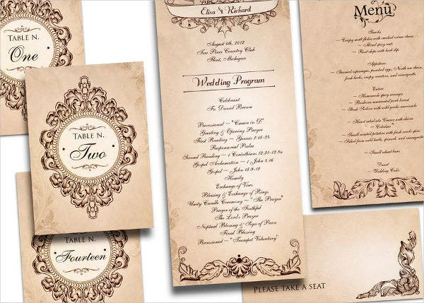Printable Vintage Wedding Program Template
