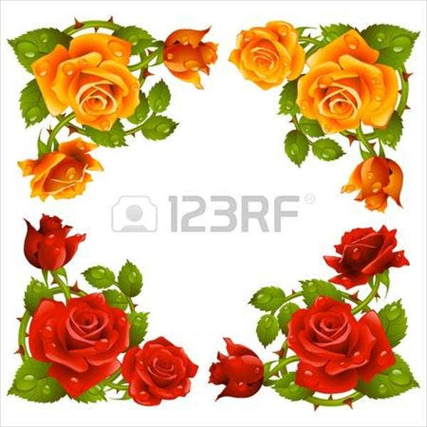 rose-flower-border-template