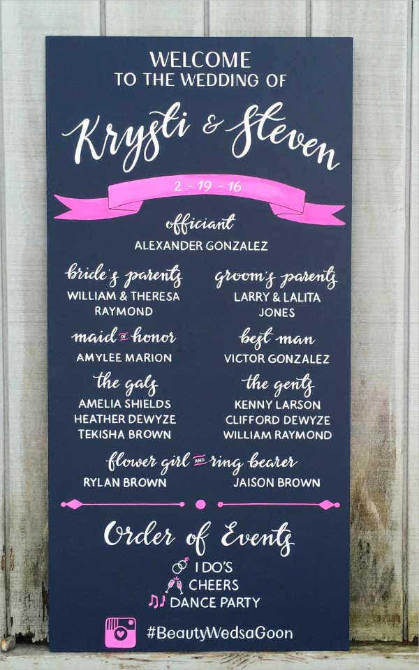 personalized chalkboard wedding program template