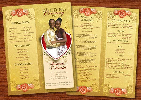 Wedding Reception Event Program Template