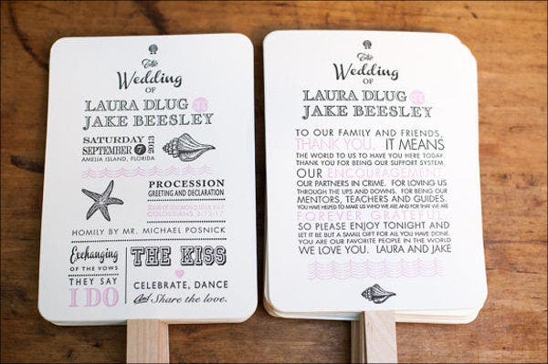 beach-wedding-program-fan-template