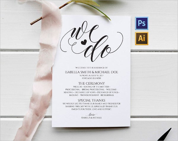 modern wedding fan program template
