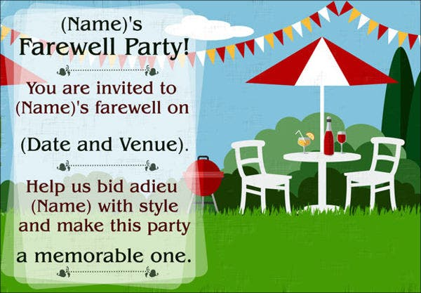 farewell party invitation templates