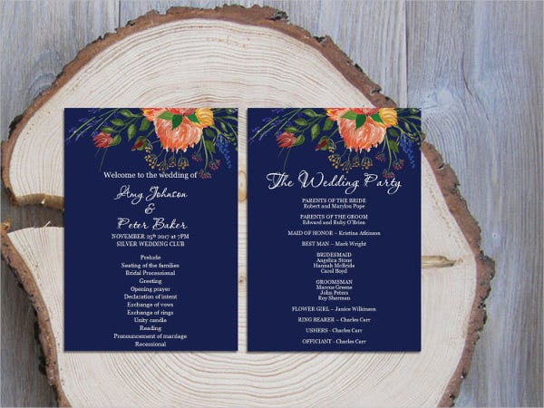 country-floral-wedding-fan-program-template