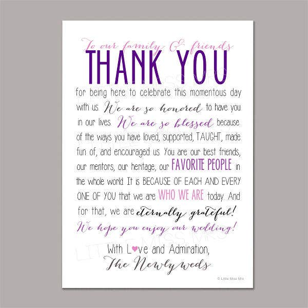 thank you wedding reception program template