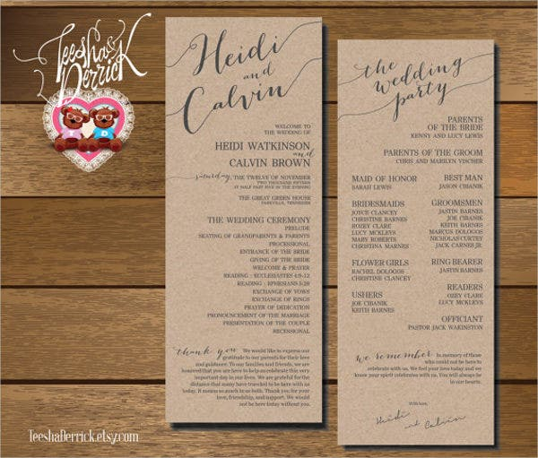 wedding fan program wording template