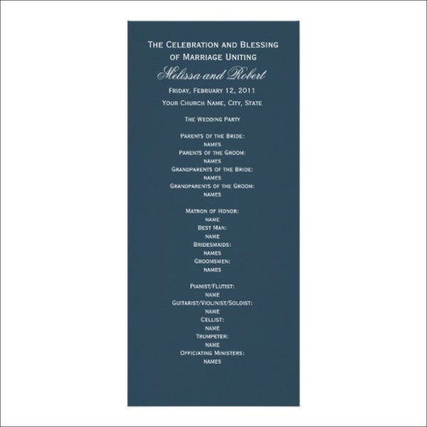 7 wedding dinner program templates psd ai free for Wedding rehearsal schedule template