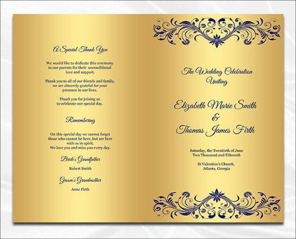 printable wedding dinner program template