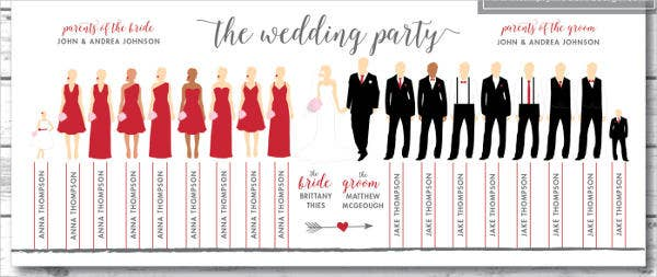 Wedding Party Silhouette Program Template