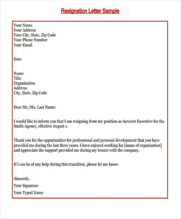 New Job Resignation Letter Template - 7+ Free Word, PDF Format ...