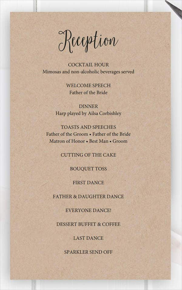 wedding wedding reception program templates free