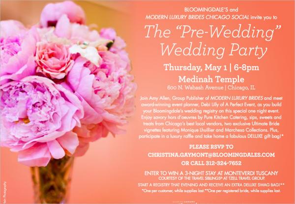 pre wedding party program template
