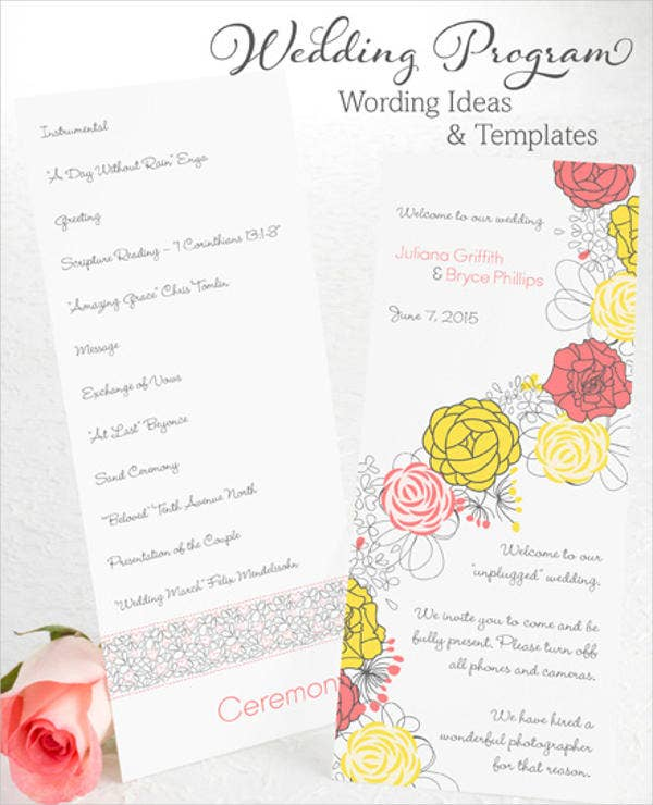 wedding party program wording template