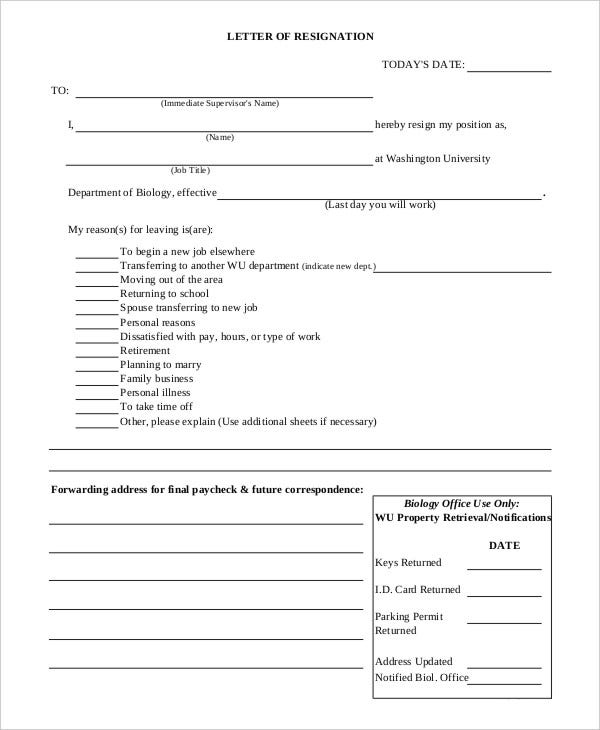 11 Personal Reasons Resignation Letter Templates Pdf Doc Free