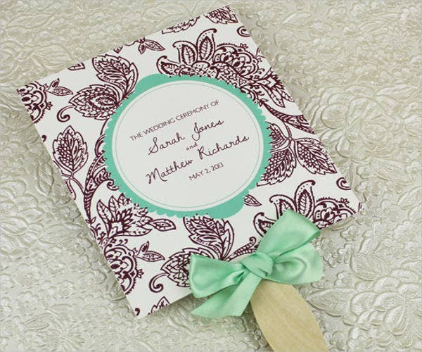 square-wedding-fan-program-template