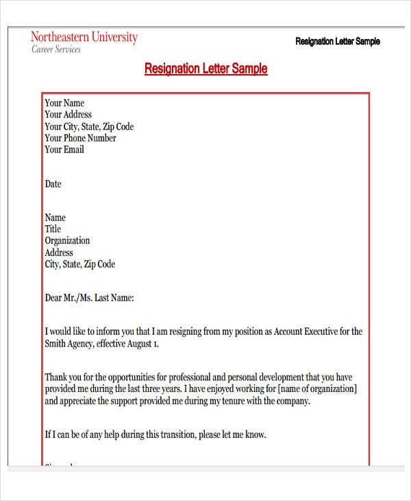 formal business resignation letter format